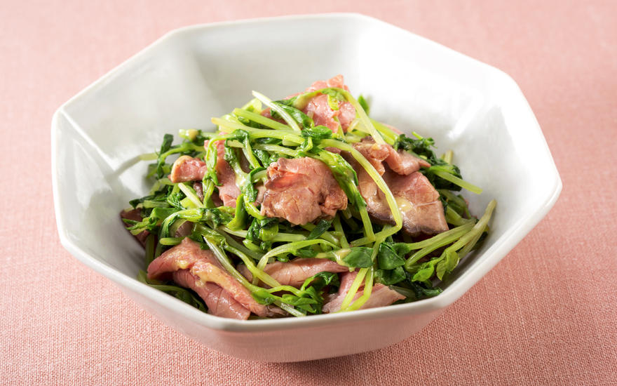 Roast Beef with Pea Sprouts